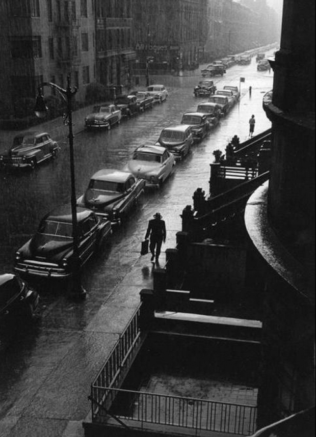 Man in rain. New York. Ruth Orkin Photo Archive