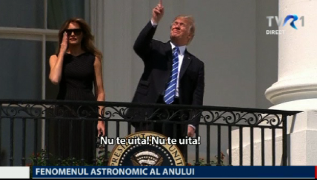 Donald Trump la eclipsa de soare din august 2017