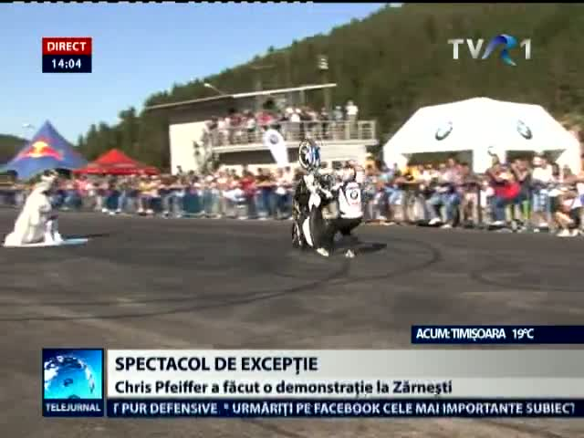 Motociclistul Chris Pfeiffer la Zarnesti