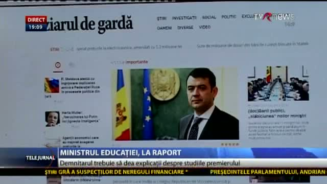 Telejurnal Moldova: Ministrul Educației, la raport