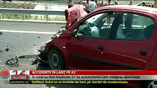 Accident în lanț pe A2
