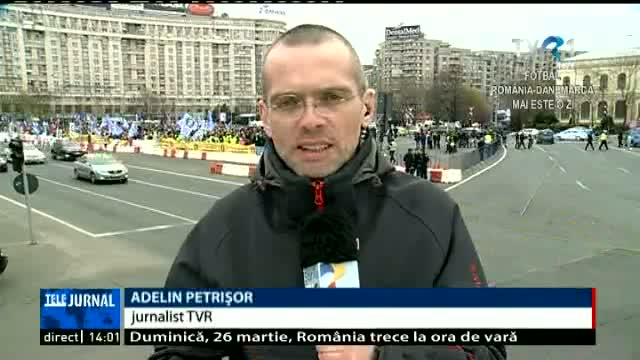 Protestul polițiștilor. Adelin Petrișor, Telejurnal ora 14.00