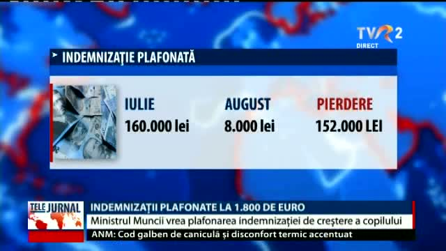 Indemnizații plafonate la 1.800 de euro