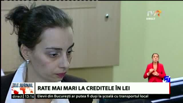 Rate mai mari la creditele in lei