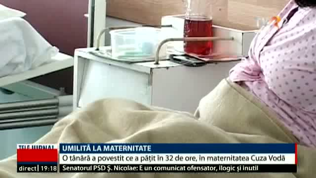 Umilită la maternitate, Telejurnal ora 19.00