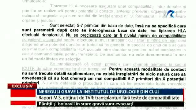 Nereguli grave la Institutul de Urologie Cluj, Telejurnal ora 20.00