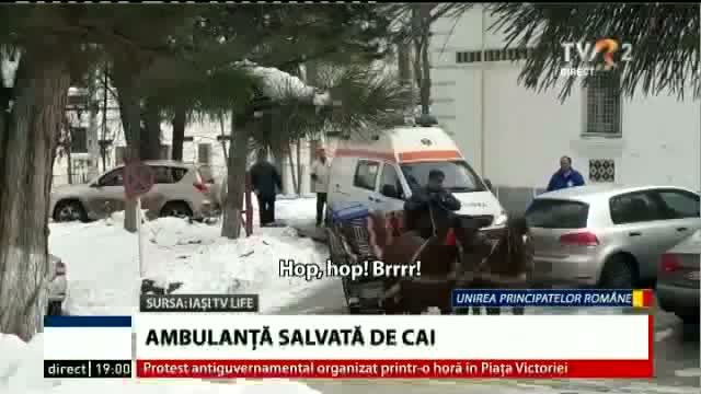 Ambulanță salvată de cai